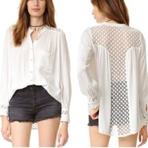 Free People The Best Button Down Blouse White XS